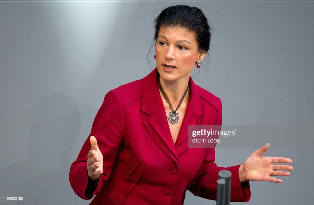 Sahra Wagenknecht of the Left party (Die Linke) delivers her speech at ...
