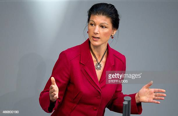 Sahra Wagenknecht of the Left party delivers her speech at the German parliament on the next EU summit at the German Bundestag in Berlin on March 19...