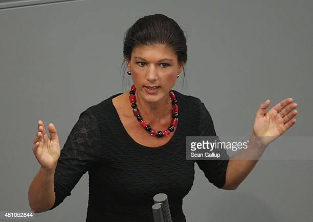 Sahra Wagenknecht of the leftwing political party Die Linke speaks during debates prior to a vote over the third EU financial aid package to Greece...