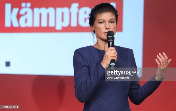 Sahra Wagenknecht top candidate of the Left party delivers a speech at an election party night on September 24 2017 in Berlin / AFP PHOTO / dpa / Jan...