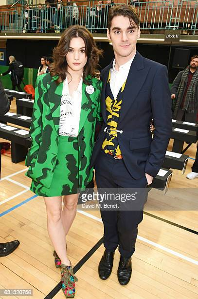 Sai Bennett and RJ Mitte attend the Vivienne Westwood show during London Fashion Week Men's January 2017 collections at Seymour Leisure Centre on...