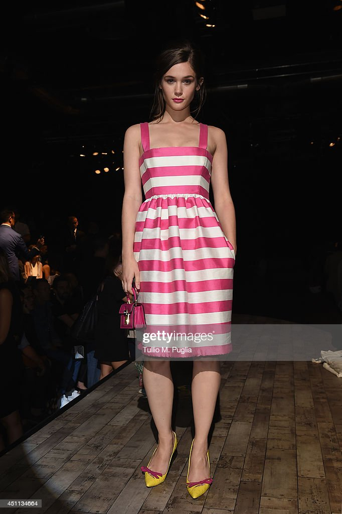 Sai Bennett attends DSquared2 show during Milan Menswear Fashion Week Spring Summer 2015 on June 24, 2014 in Milan, Italy.