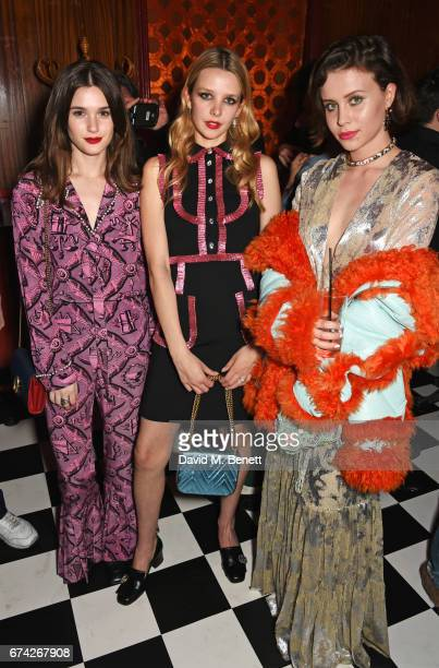Sai Bennett Greta Bellamacina and Billie JD Porter attend the Gucci and iD party celebrating the Gucci PreFall 2017 campaign at the Mildmay Club in...