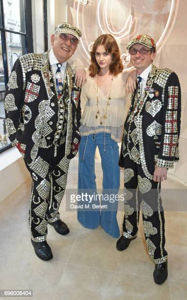 Sai Bennett poses with Pearly Kings at the opening of the new Chloe London flagship store on New Bond Street on June 14 2017 in London England