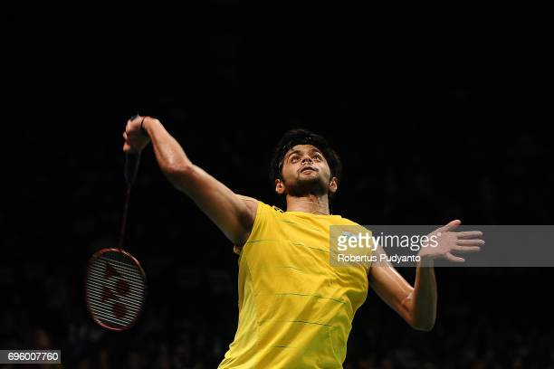 Sai Praneeth B of India competes against Son Wan Ho of Korea during Mens Single Round 2 match of the BCA Indonesia Open 2017 at Plenary Hall Jakarta...