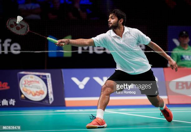 Sai Praneeth B Of India in action during the day one at the DANISA Denmark Open Badminton tournament at Odense Idratshal on October 18 2017 in Odense...