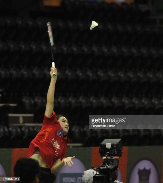 Sai Praneeth of Delhi Smashers in action against Tin Minh Nyugen of Pune Pistons in the inaugural match of Indian Badminton League at Sirifort Indoor...