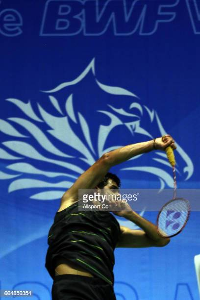 Sai Praneeth of India smashes during his match against Lin Dan of China in the men's singles during the preliminary round of the 2017 World BWF Super...