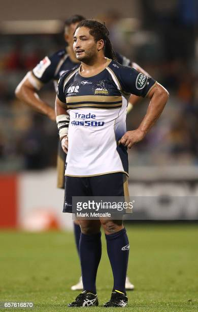 Saia Fainga'a of the Brumbies looks dejected after defeat in the round five Super Rugby match between the Brumbies and the Highlanders at GIO Stadium...