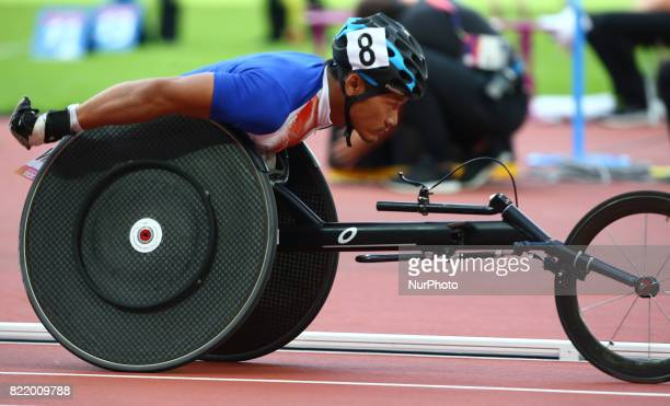 Saichon Konjen of Thailandcompete Men's 800m T54 Final during World Para Athletics Championships at London Stadium in London on July 21 2017