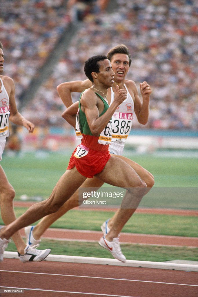 Said Aouita and David Moorcroft during the men's 5000meter race of the Olympic Games
