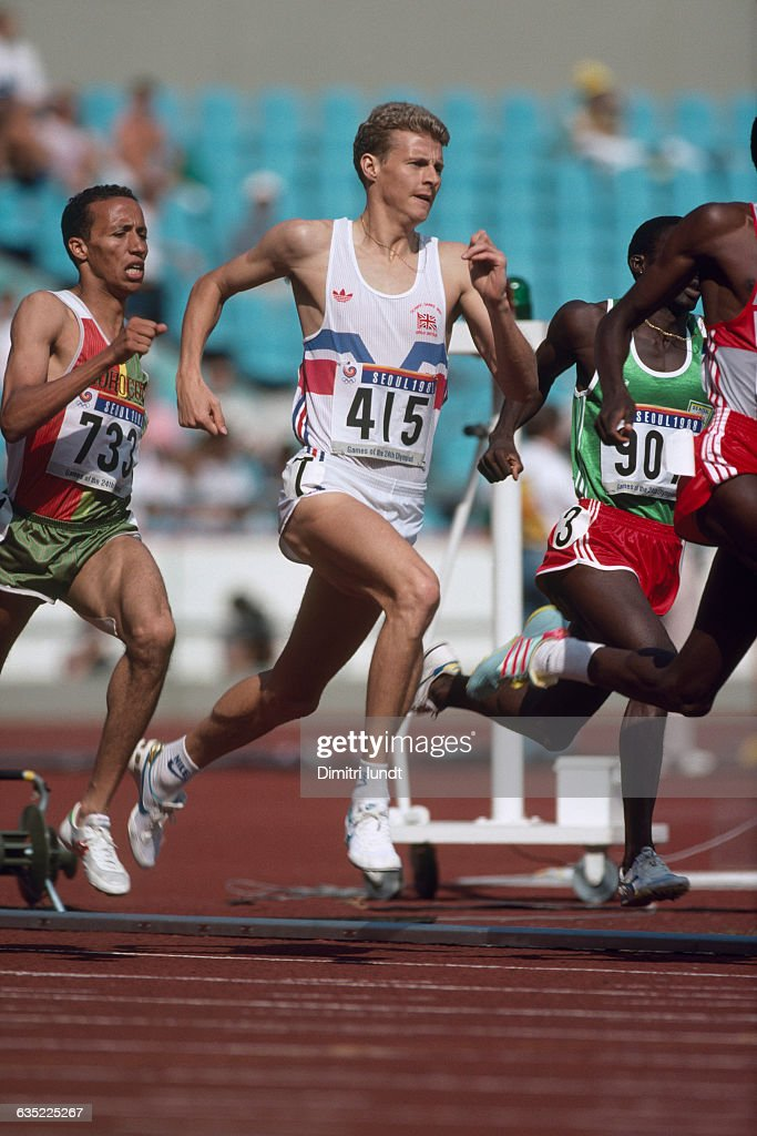 Said Aouita and Steve Cram during round two of the men's 800meter race of the Olympic Games