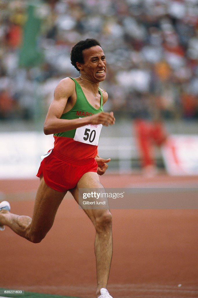 Said Aouita from Morocco competes during the African Championships