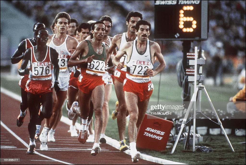 Said Aouita from Morroco follows Antonio Leitao from Portugal who leads the men's 5000m final Los Angeles Olympics 11 August 1984 Aouita took gold...