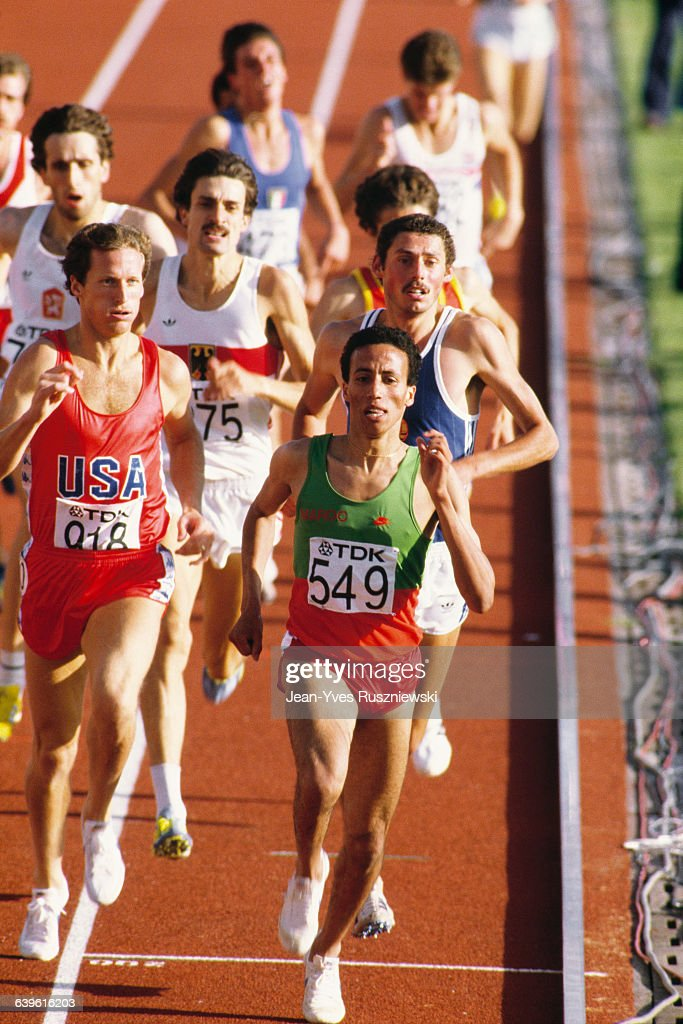 Said Aouita leads the pack during the men's 1500meter run of the 1983 World Championships Steve Scott of the USA follows behind