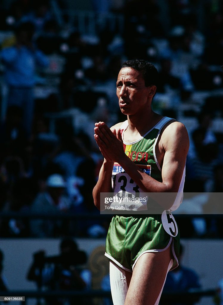 Said Aouita of Morocco before the start of the Men's 800 metres during the XXIV Summer Olympic Games on 26 September 1988 at the Seoul Olympic...