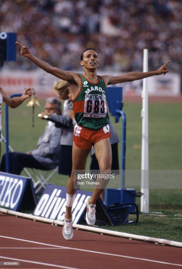 Said Aouita of Morocco celebrates after winning the men's 5000m final at the 2nd World Athletics Championships held at the Olympic Stadium Rome Italy...