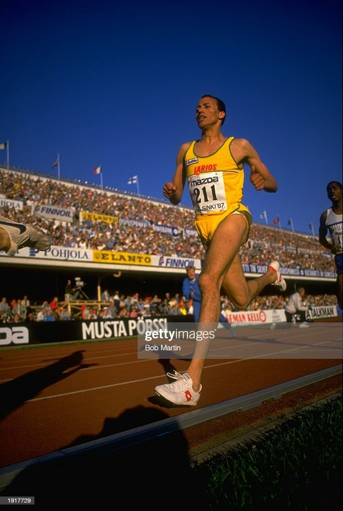 Said Aouita of Morocco in action during the 3000 metres event at the IAAF Helsinki Grand Prix in Helsinki Finland Mandatory Credit Bob Martin/Allsport