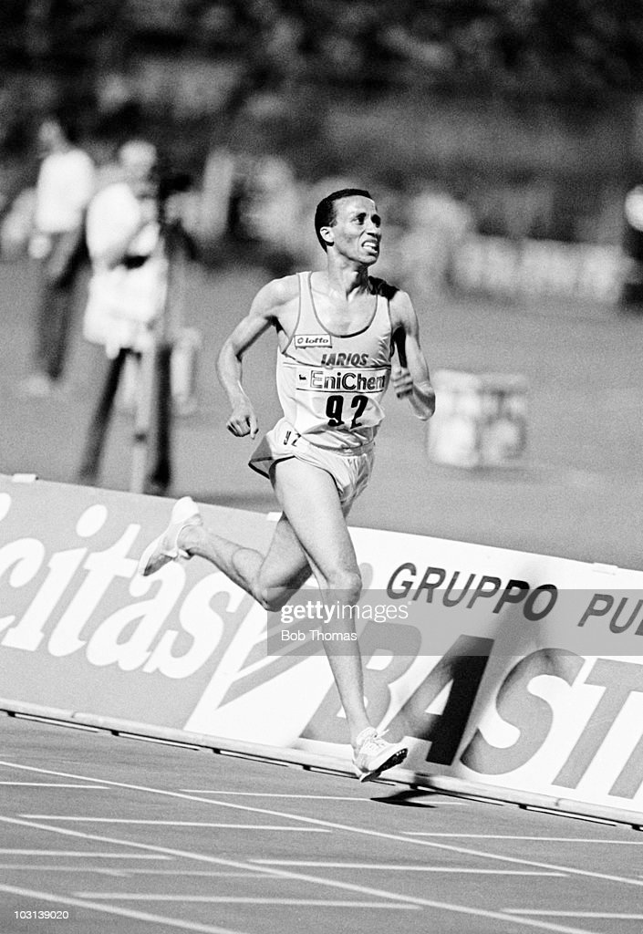 Said Aouita of Morocco on the final lap of his 5000m world record run in 12 minutes 5839 seconds at the IAAF Golden Gala Grand Prix Athletics meeting...