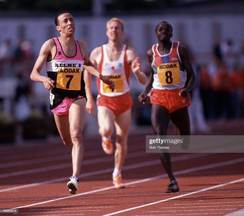 Said Aouita of Morocco running at the Kodak Classic Athletics meeting held in Gateshead England August 1989