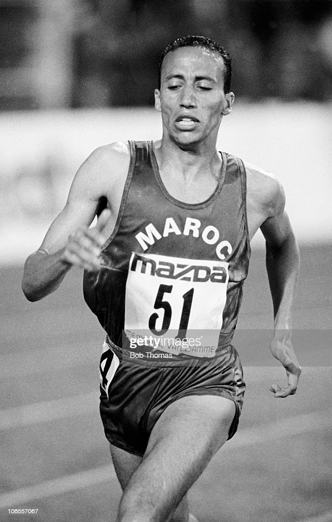 Said Aouita of Morocco running during the Van Damme Memorial Athletics meeting held in Brussels Belgium on the 25th August 1989