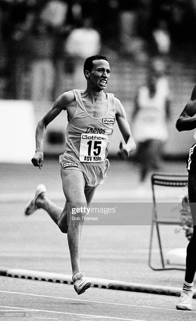 Said Aouita of Morocco running in an Athletics meeting in Cologne Germany on 21st August 1988