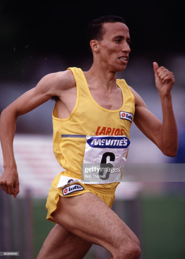 Said Aouita of Morocco running in the men's 1000m at the McVities Challenge Athletics meeting held at Crystal Palace London August 1988