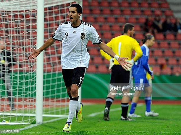 Said Benkarit of Germany celebrates after scoring his teams third goal during the DFB U17 Four Nations Cup match between Germany and Israel at Aue...