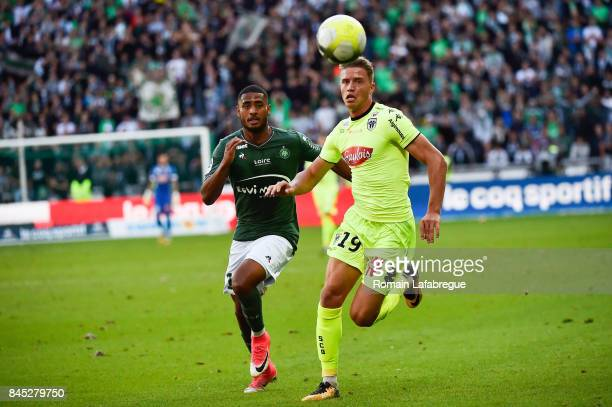 Said Janko of Saint Etienne and Baptiste Guillaume of Angers during the Ligue 1 match between AS Saint Etienne and Angers SCO at Stade...