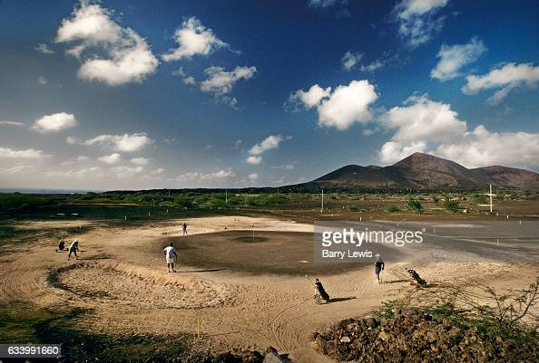 Said to be the worse golfcourse in the world players negociate sand and lava to reach the oil soaked 'green' 27th May 1997 on Ascension a small...
