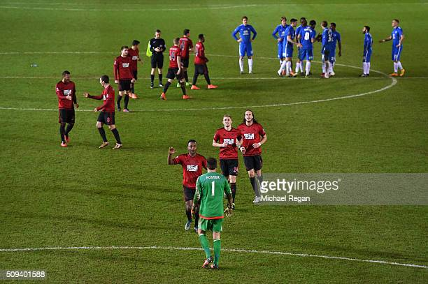 Saido Berahino Darren Fletcher and Jonas Olsson of West Bromwich Albion run to celebrate victory with teammate Ben Foster of West Bromwich Albion...