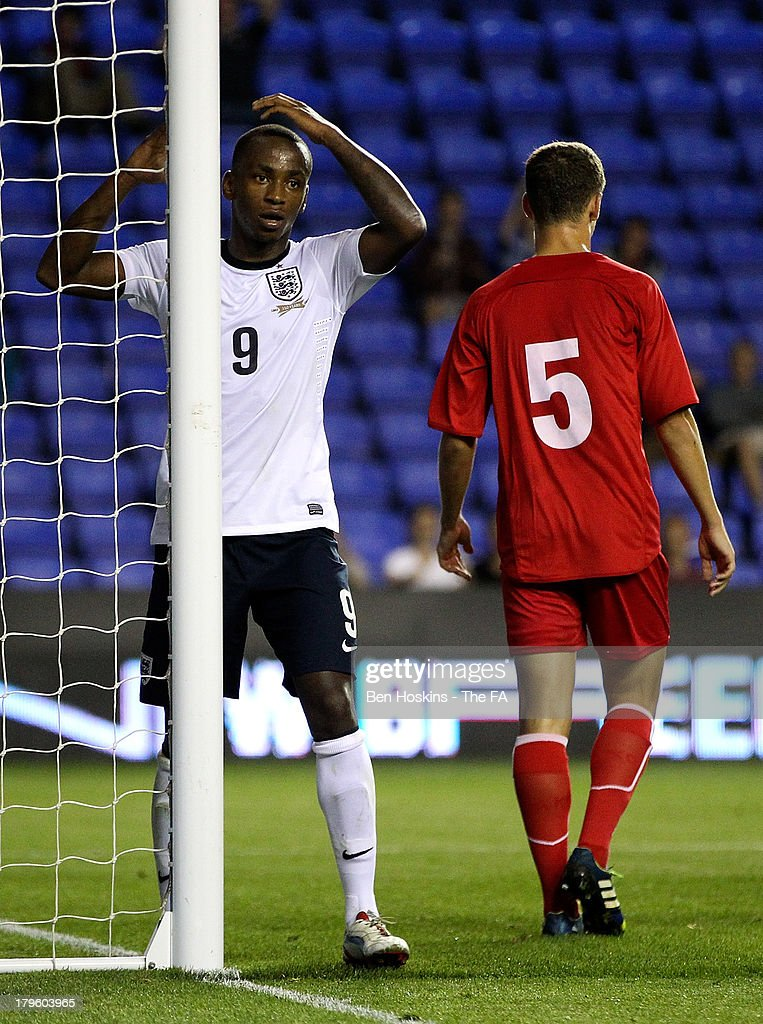 Saido Berahino of England reacts after missing a chance during the 2015 UEFA European U21 Championships Qualifier match between England U21 and Moldova U21 at Madejski Stadium on September 5, 2013 in Reading, England.