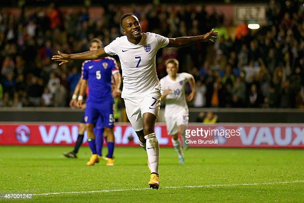 Saido Berahino of England runs away to celebrate after scoring his teams second goal from the penalty spot during the UEFA U21 Championship Playoff...