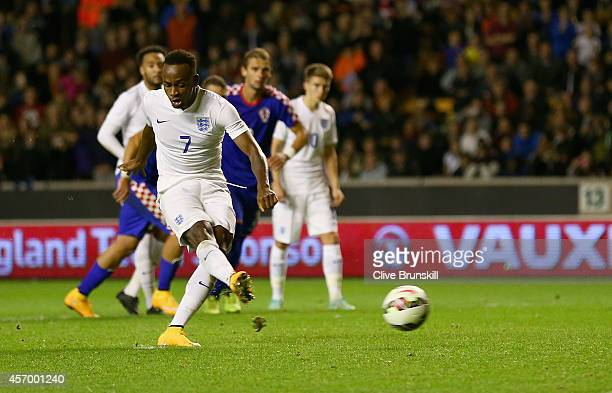 Saido Berahino of England scores his teams second goal from the penalty spot during the UEFA U21 Championship Playoff First Leg match between England...