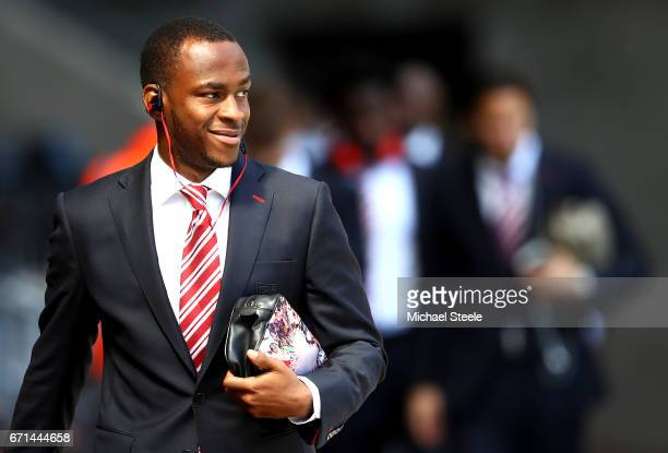 Saido Berahino of Stoke City arrives for the Premier League match between Swansea City and Stoke City at the Liberty Stadium on April 22 2017 in...
