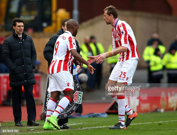 Saido Berahino of Stoke City comes on for Peter Crouch of Stoke City during the Premier League match between Stoke City and Middlesbrough at Bet365...