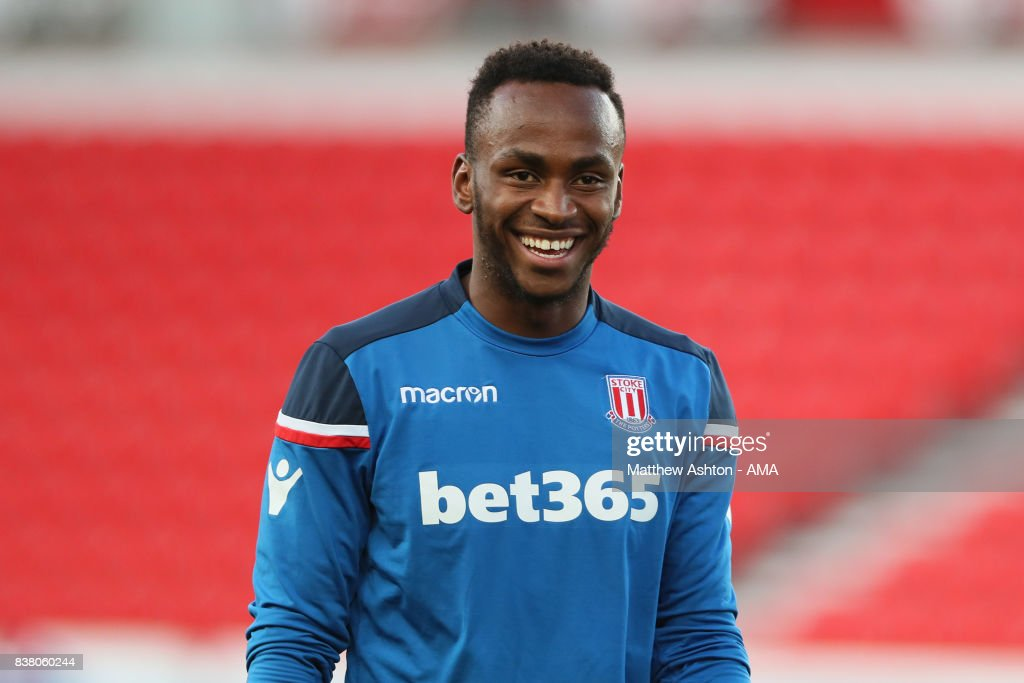 Saido Berahino of Stoke City during the Carabao Cup Second Round match between Stoke City and Rochdale at Bet365 Stadium on August 23, 2017 in Stoke on Trent, England.