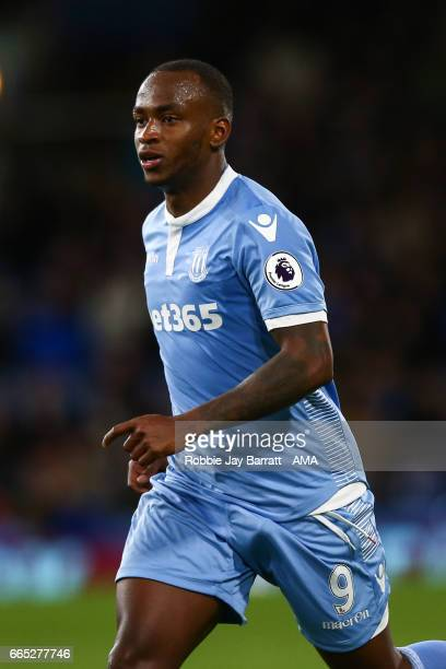 Saido Berahino of Stoke City during the Premier League match between Burnley and Stoke City at Turf Moor on April 4 2017 in Burnley England