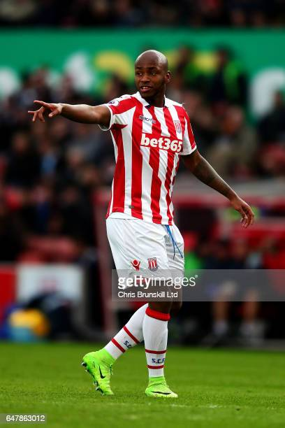 Saido Berahino of Stoke City gestures during the Premier League match between Stoke City and Middlesbrough at Bet365 Stadium on March 4 2017 in Stoke...