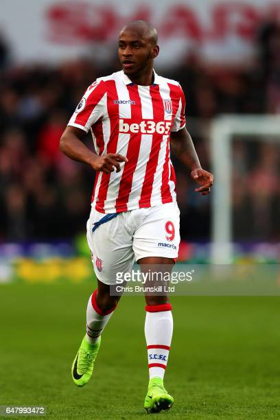 Saido Berahino of Stoke City in action during the Premier League match between Stoke City and Middlesbrough at Bet365 Stadium on March 4 2017 in...