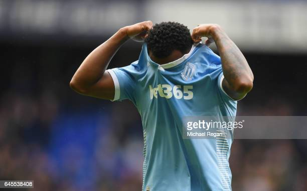 Saido Berahino of Stoke City looks dejected after the Premier League match between Tottenham Hotspur and Stoke City at White Hart Lane on February 26...