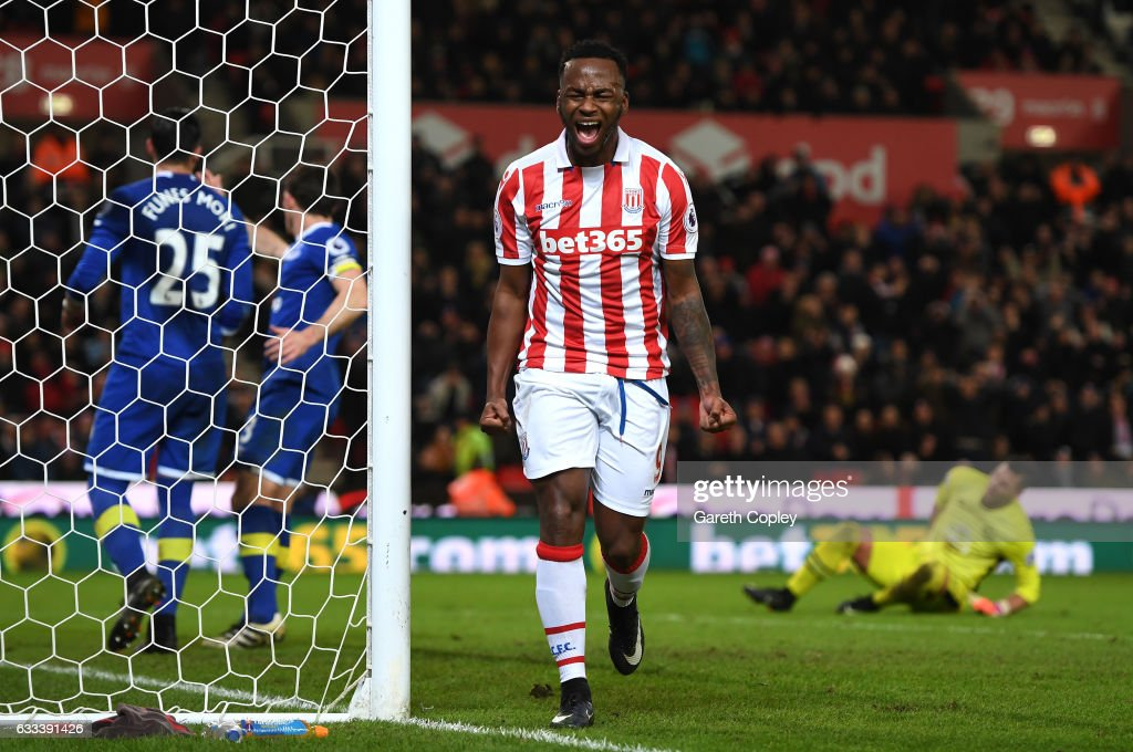 Saido Berahino of Stoke City reacts after missing a chance during the Premier League match between Stoke City and Everton at Bet365 Stadium on February 1, 2017 in Stoke on Trent, England.