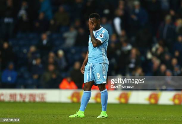 Saido Berahino of Stoke City reacts during the Premier League match between West Bromwich Albion and Stoke City at The Hawthorns on February 4 2017...