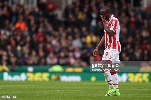 Saido Berahino of Stoke City reacts during the Premier League match between Stoke City and Chelsea at Bet365 Stadium on March 18 2017 in Stoke on...