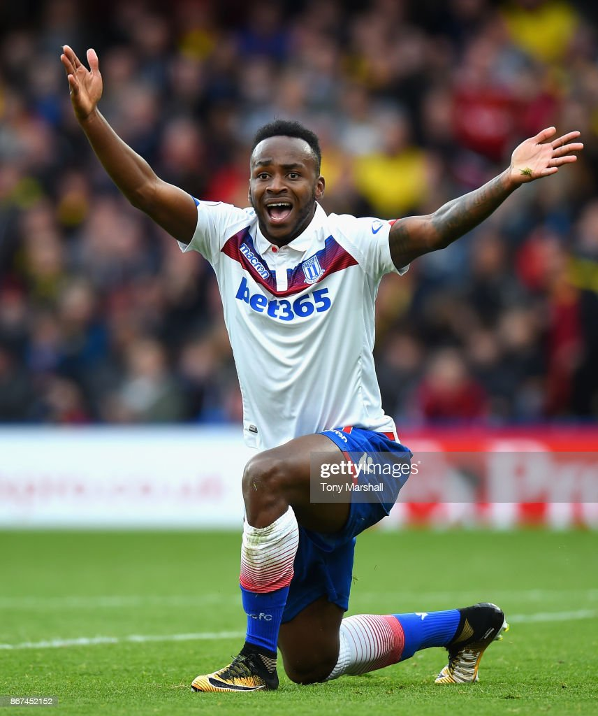 Saido Berahino of Stoke City reacts during the Premier League match between Watford and Stoke City at Vicarage Road on October 28, 2017 in Watford, England.