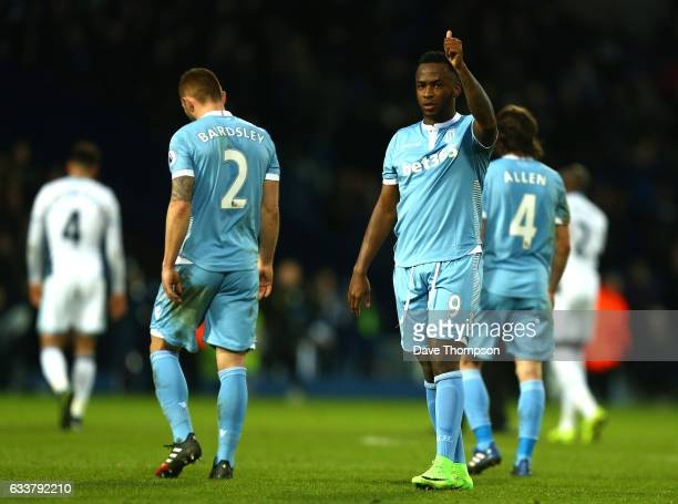 Saido Berahino of Stoke City shows appreciation to the fans during the Premier League match between West Bromwich Albion and Stoke City at The...