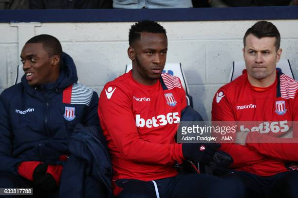 Saido Berahino of Stoke City sits on the bench during the Premier League match between West Bromwich Albion and Stoke City at The Hawthorns on...