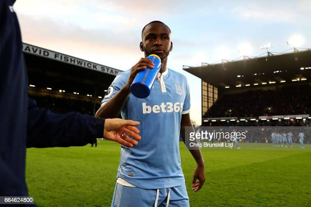 Saido Berahino of Stoke City takes a drink ahead of the Premier League match between Burnley and Stoke City at Turf Moor on April 4 2017 in Burnley...