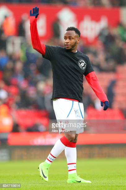 Saido Berahino of Stoke City warms up prior to the Premier League match between Stoke City and Crystal Palace at Bet365 Stadium on February 11 2017...