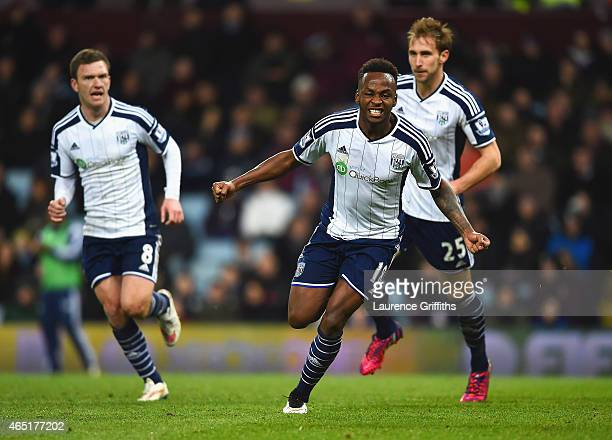 Saido Berahino of West Brom celebrates scoring their first goal during the Barclays Premier League match between Aston Villa and West Bromwich Albion...